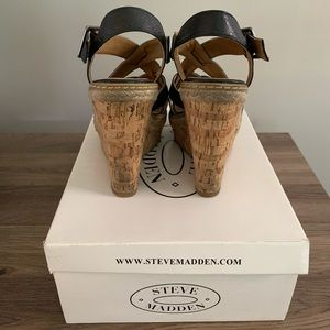 Steve Madden Shoes - Steve Madden Black Strappy Wedges